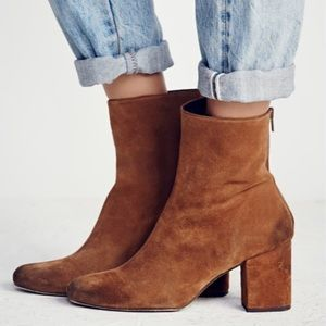 Free People Cecile Suede Block Heel Ankle Boots 7